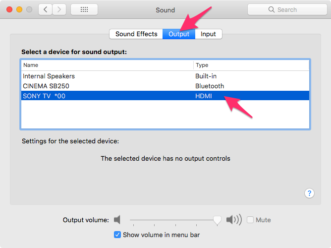 HDMI Sound output not working in MacBook