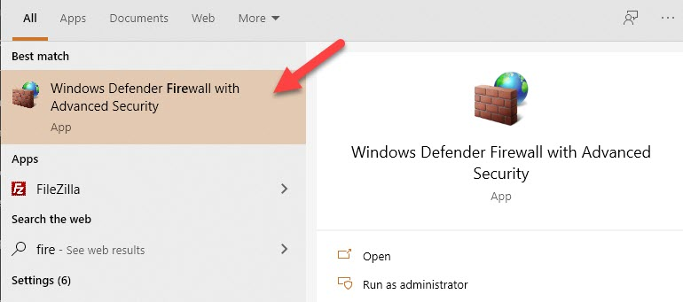 Search For Windows Firewall