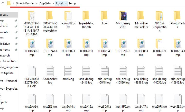 Manually Delete Temp Files