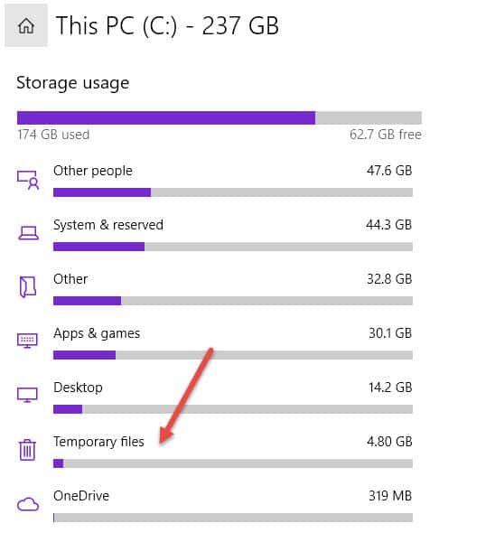 Temp File Size In Storage App
