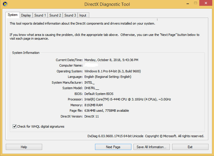 System Info Through DirectX Diagnostic Tool