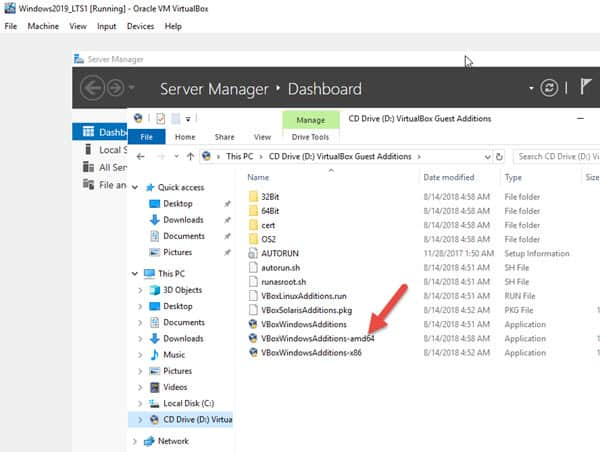 Execute 64bit Version Of Guest Additions - install windows 2019 server on VirtualBox