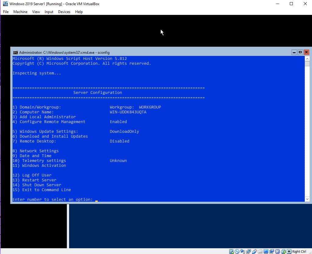 Windows 2019 Core On VirtualBox