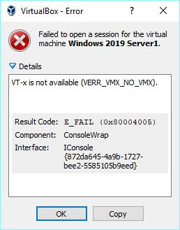 VT-x is not available (verr_vmx_no_vmx) in Windows 10