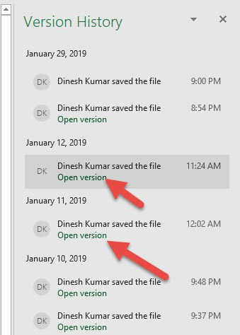 Open Version On Auto Saved Excel