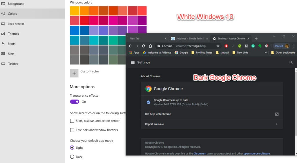 White Windows And Dark Chrome Browser