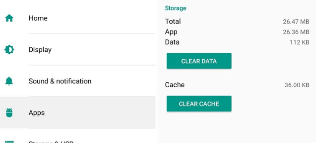 Android Clear Cache Option