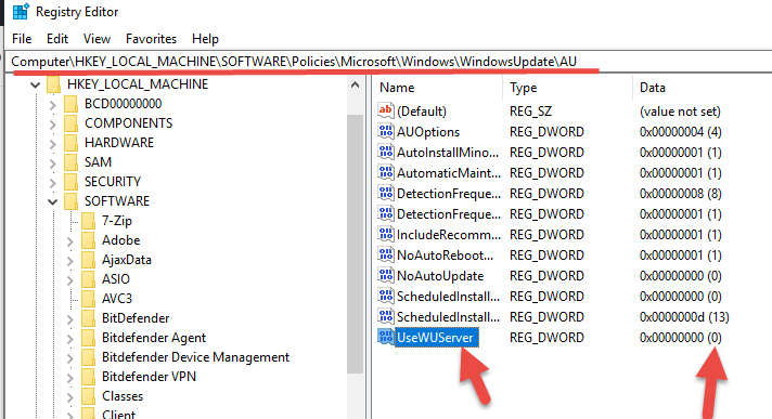 Modified Registry - Disable WSUS On Windows 10