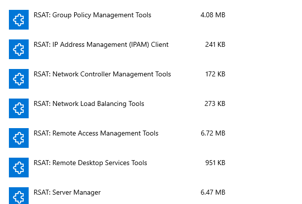 RSAT Tools As Optional Features