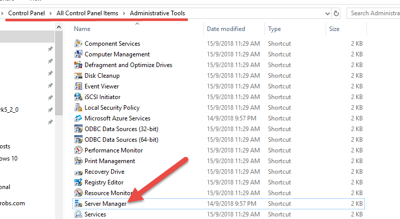 Server Manager On Windows 10