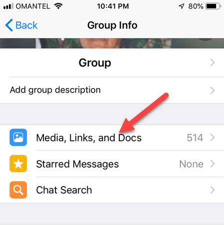 View Media - Reduce WhatsApp Storage Usage on iPhone