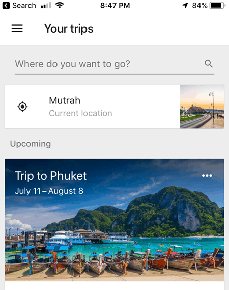 Working Google Trips App