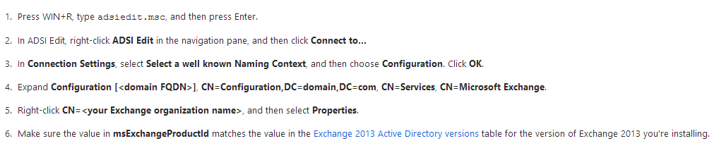 Exchange 2013 Schema Version