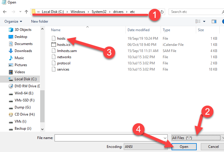 Open The Hosts File In Notepad Windows 10