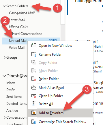 Add Under Mail Folder From Search Folder - Show Unread Mail Folder in Outlook