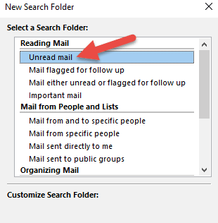 Select The Unread Mail