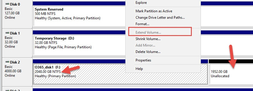 Extend Volume Greyed Out