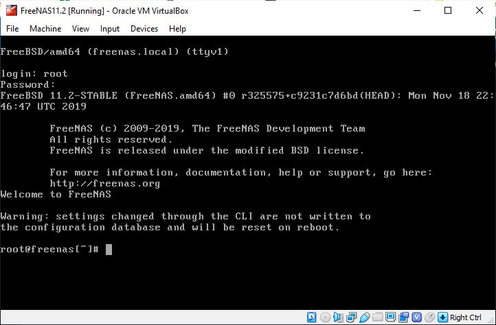 Freenas Console In Virtualbox