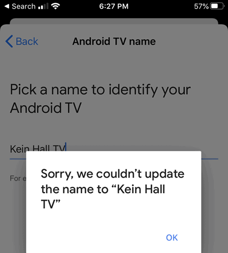 Could Not Save The TV Name In Google Home