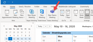 Showing Teams Add In In Outlook