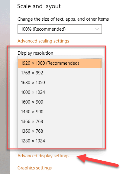 Available Screen Resolutions