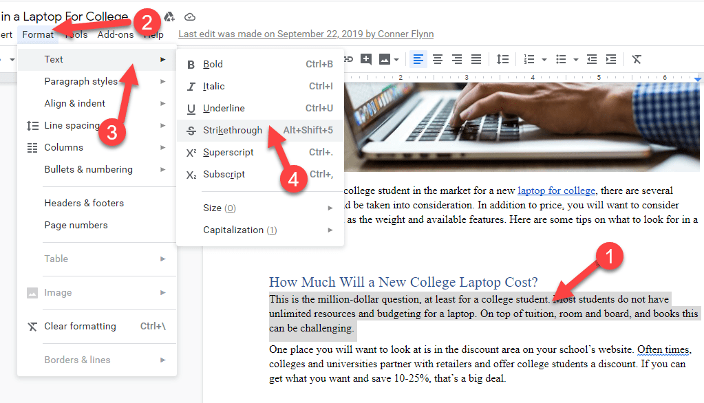 Strikethrough Option In Google Docs