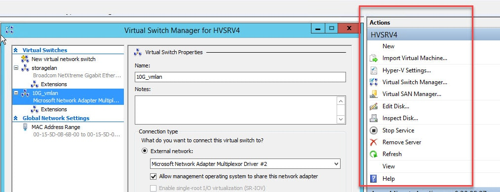 Network Switch Settings In Hyper V Console