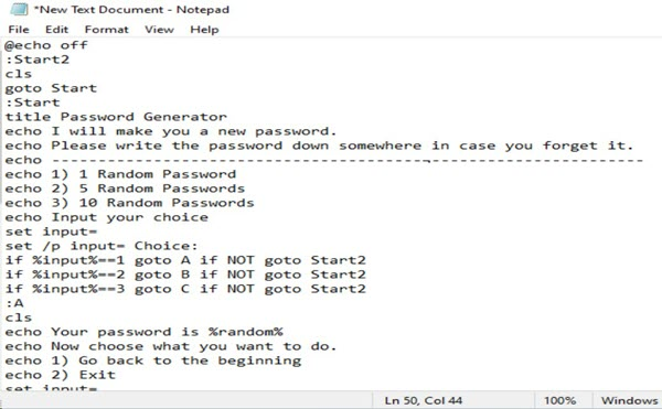 Password Generator By Notepad