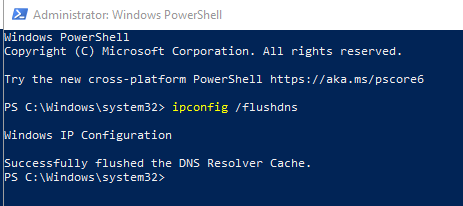 By Powershell To Flush DNS
