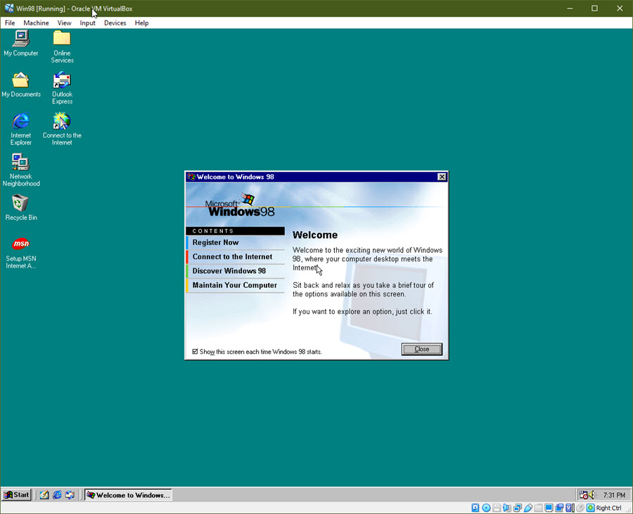 Windows 98 Welcome Screen