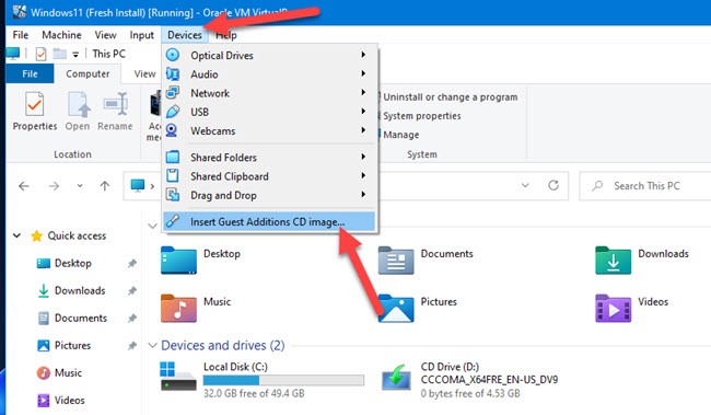 Load VirtualBox Guest Additions ISO